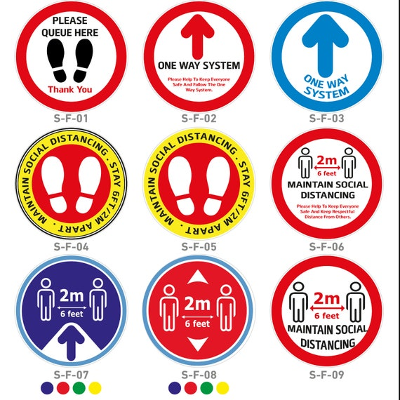 "Shops Office Retail Social Distancing Floor Stickers Anti-Slip 12/"" 30cm"