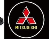 2 Pcs Mitsubishi Logo Wireless Car Door Courtesy Welcome Laser Projector Shadow LED Light Emblem for All Mitsubishi  Cars