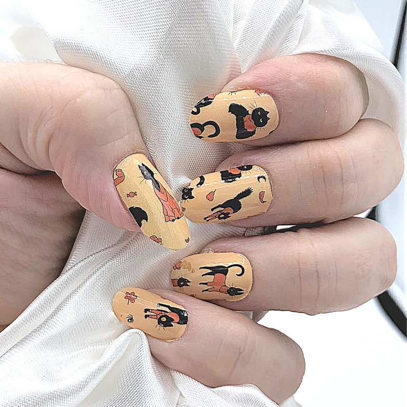 Orange black color Cats in Sweaters real nail polish strips image 0