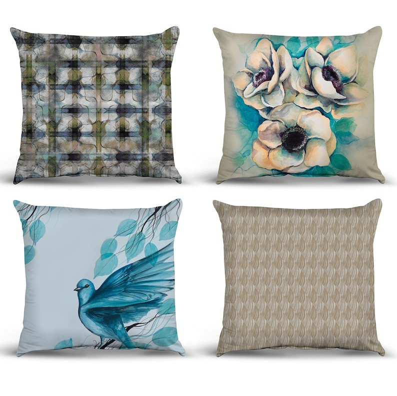 Set of 4 Pillow case with abstract art Artist design decoration item Digital printed cushion cover 17x17