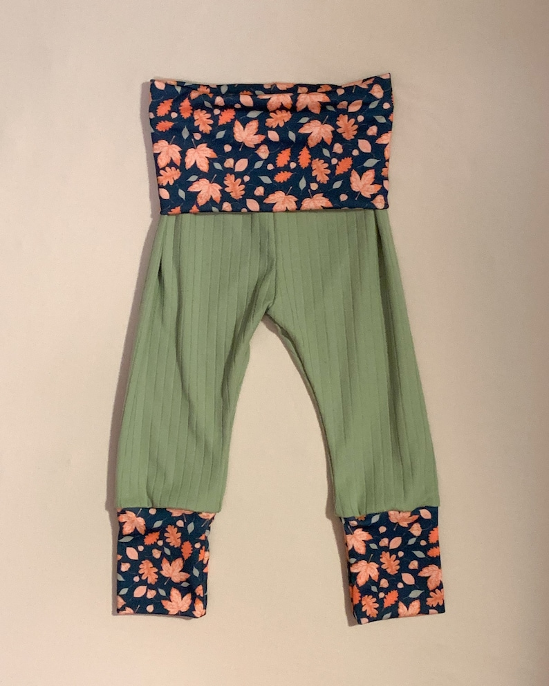 Baby /& Toddler Sizes Fall Floral Sage Ribbed Knit Lounge Pants Joggers