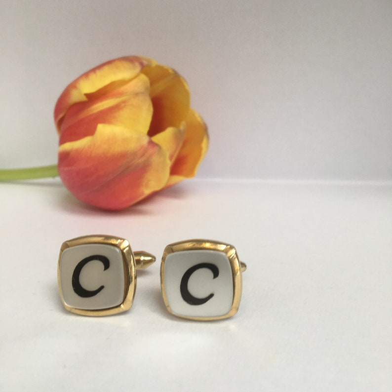 Vintage Sophos  Initial C Cufflinks White Background with Black Capital C Topped