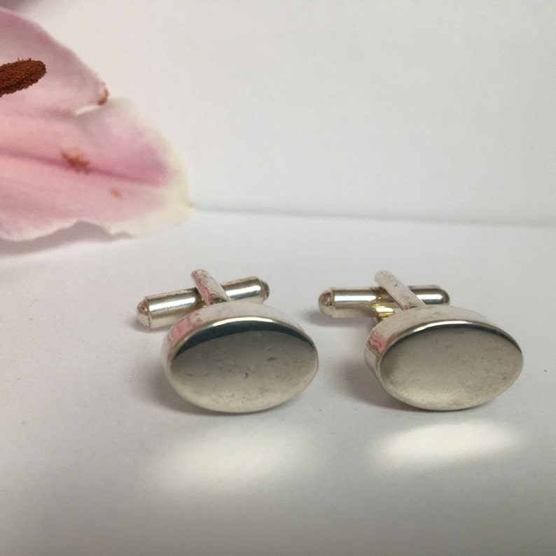 Vintage Silver or Silver Tone Cufflinks with Pleasing Heavy Feel and Weight