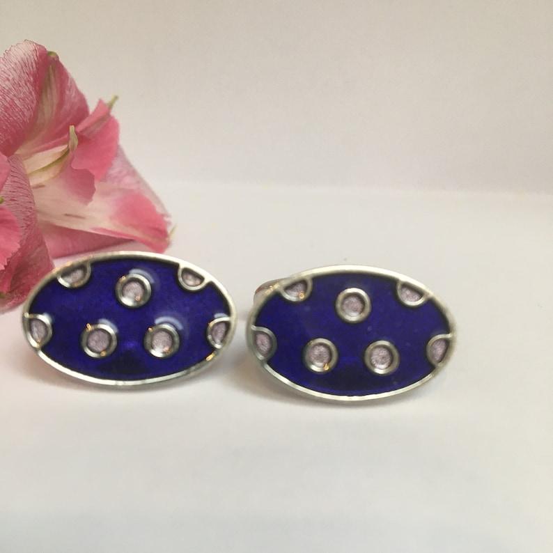Vintage Blue and Pink Cufflinks Posh Vintage Blue Enamel Cufflinks with Pink Spots-