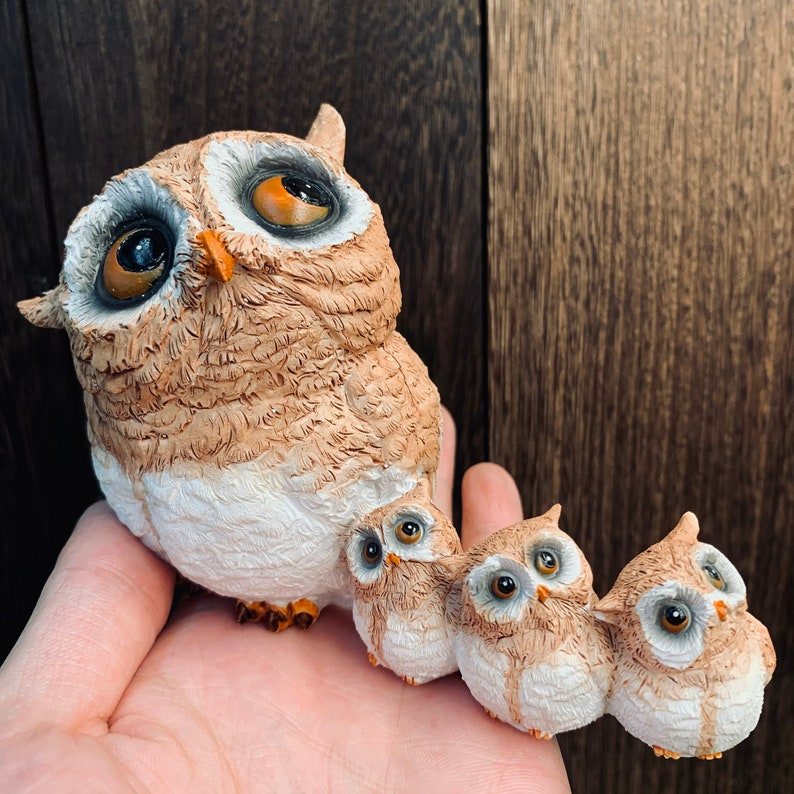 miniature Owls and owl babies animal statue Micro landscape decorations mini garden supplies DIY potted landscape gifts for friends