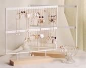 Minimal Earring Organizer Jewellery Display Stand, Earring Holder Rack, Metal and Wood Basic Storage Earring Jewelry Display