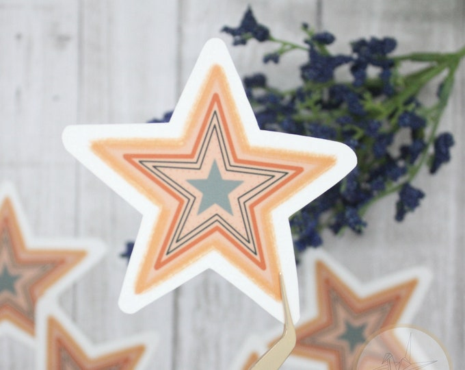 Star Sticker, Colorful Star Sticker, Patterned Star Sticker, Laptop Sticker, Waterbottle Sticker, Gift for her