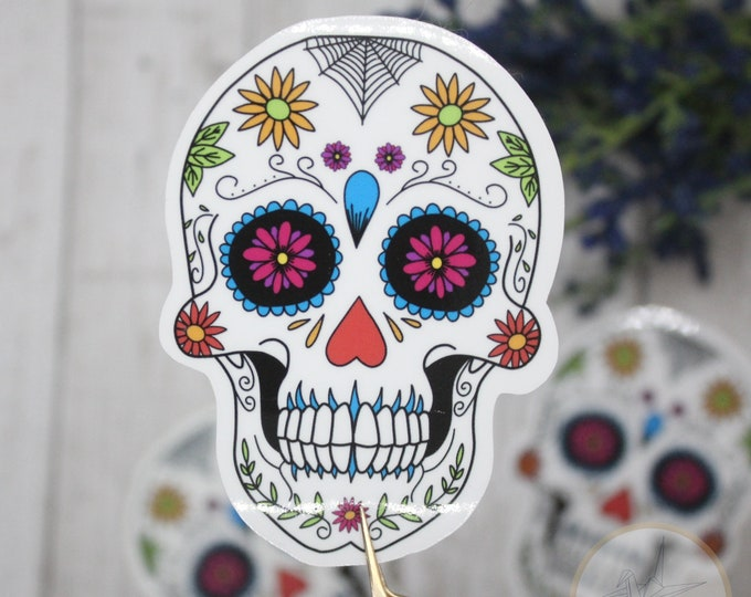 Sugar Skull Sticker, Dia de los muertos stickers, Waterbottle Stickers, Sticker for Laptop, Waterproof Stickers, Holiday Gift for her