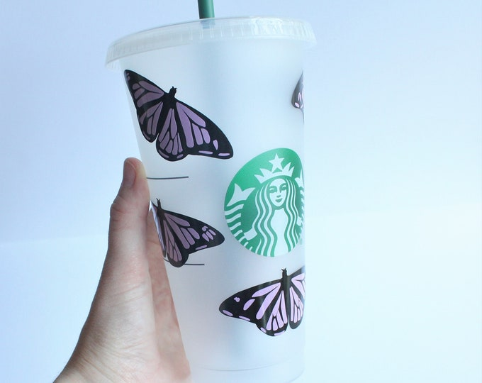 Butterfly Starbucks Cup, Custom Starbucks Cup, Cold Starbucks with Personalization, Custom Name Starbucks Cup, Gift for her