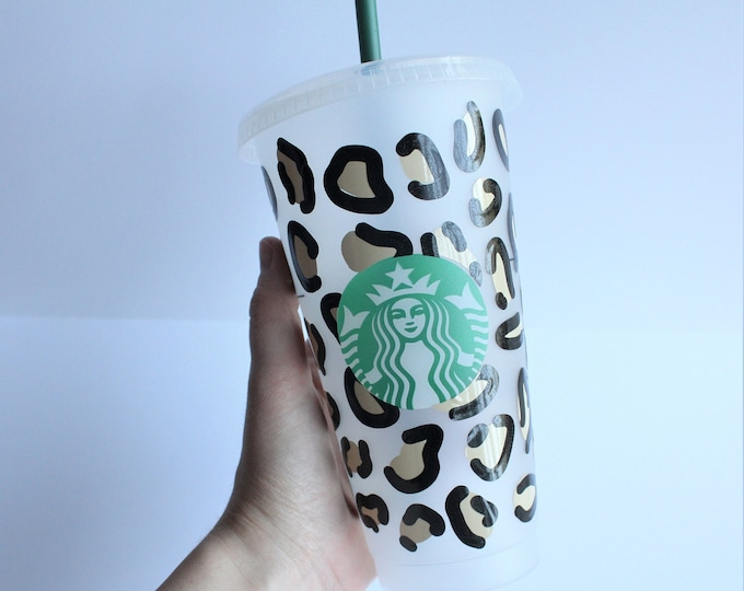 Cheetah Print Starbucks Cup, Custom Starbucks Cup, Starbucks Cup with Personalization, Custom Name Starbucks Cup, Gift for her