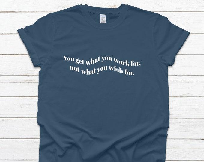 Hard work t shirt, Blue casual tshirt, small business t-shirt, gift for business owner, casual t-shirt for women, tshirt women with sayings