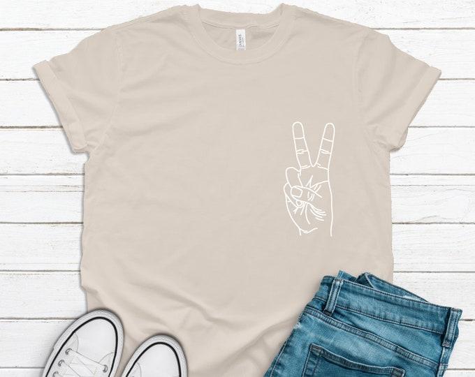 Peace Sign Tshirt Women, Boho tshirt, minimalist tshirt, birthday gift for her, teen birthday gift, tan tshirt, natural tshirt