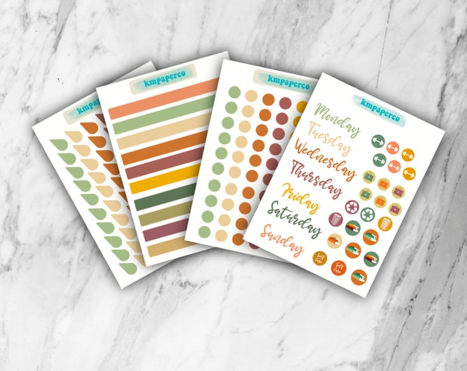 Fall color palette Planner Stickers, Fall Planner stickers, BUJO stickers, bullet journal stickers, fall color palette,