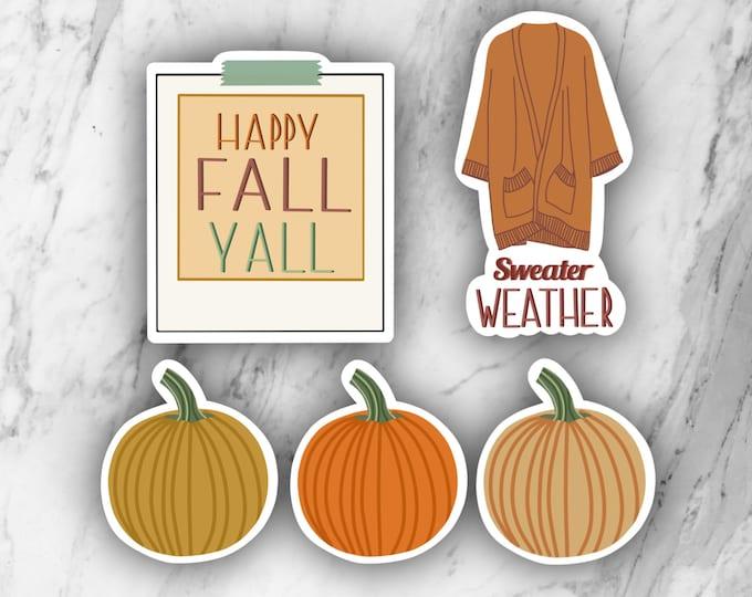 Fall sticker pack, fall stickers, pumpkin stickers, laptop stickers, season stickers