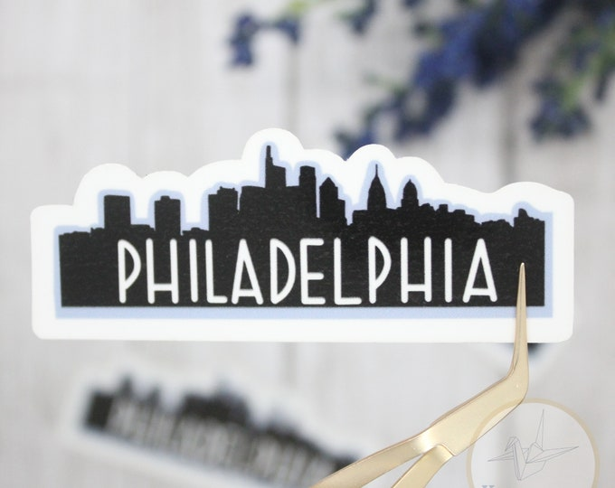 philadelphia sticker, skyline stickers, city stickers, waterbottle sticker, sticker for laptop, waterproof stickers, small gift for her