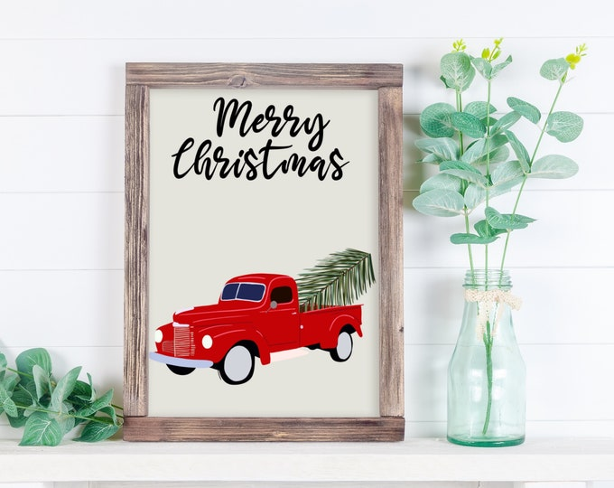 Red truck Christmas Print, Christmas Print, Holiday Print, Art Print, Christmas Decor, Holiday Decor, Gift for her, Gift for him