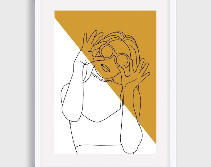 Line art Print, Female Line Art Print, Simple art print, Illustrated Digital Print, Art Print, Gift for her,