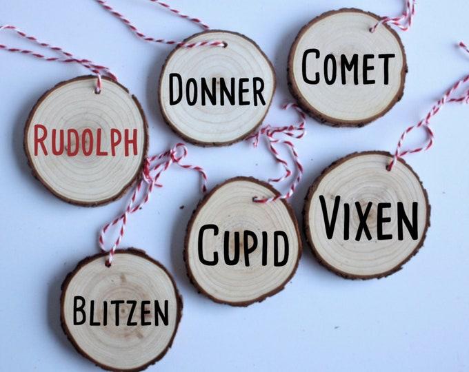 Christmas Reindeer Name Ornament, Wooden Christmas Ornaments, Christmas Decor, Gift for her, Gift for him, Christmas Gift