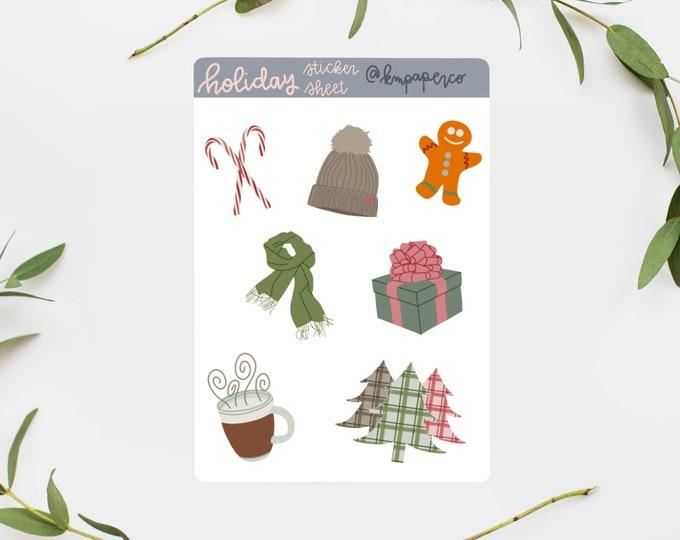 Holiday Sticker Sheet, Christmas Sticker Sheet, scrapbooking stickers, sticker set, bujo stickers, journal stickers, planner stickers