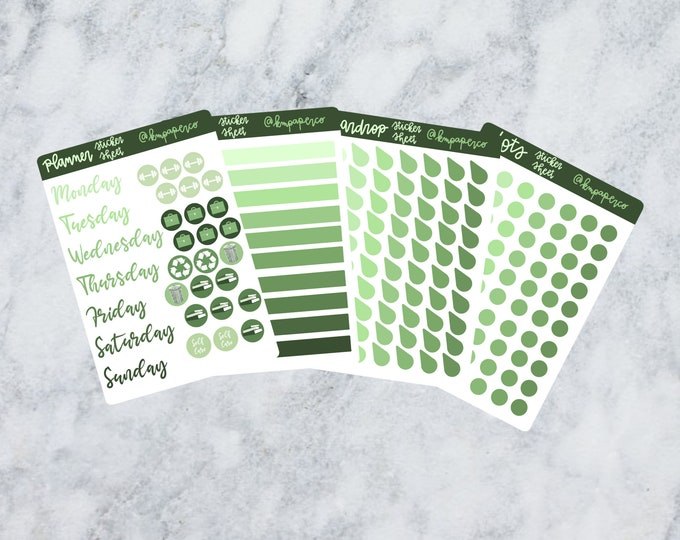Planner stickers, green stickers, bullet journal stickers, bujo stickers, journal stickers, sticker sheet, gift for her, small gift