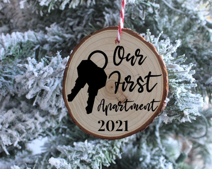 Our First Apartment Wood Ornaments, Christmas Ornaments, Custom Christmas Ornaments, Gift for her, Gift for him, Christmas Gift
