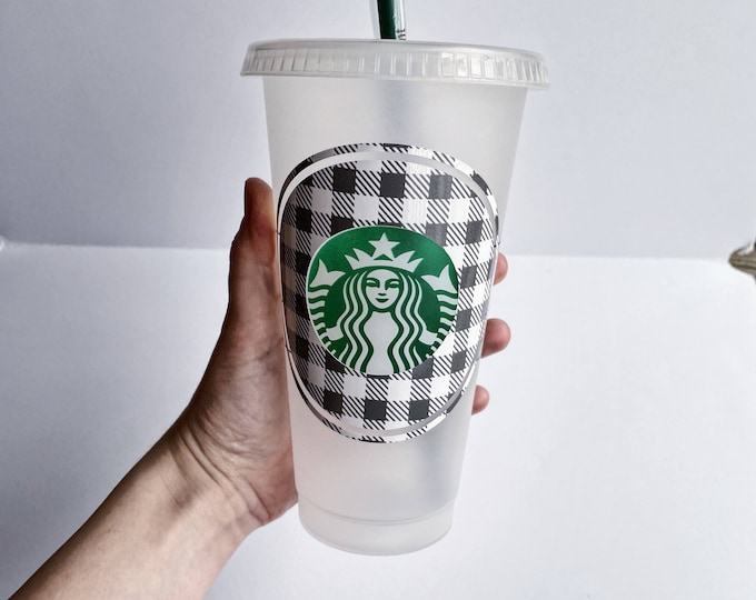 Buffalo Plaid Custom Starbucks Cup, Cold Cup, Christmas Cold Cup, Christmas gift, Christmas vibes, Winter Cold Cup, Gift for her