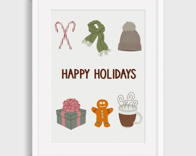 Happy Holidays Digital Print, Christmas Digital Print, Illustrated Digital Print, Art Print, Gift for her,