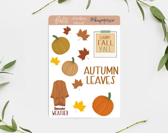 Autumn Leaves Sticker Sheet, Scrapbooking stickers, bujo stickers, fall scrapbooking stickers, fall stickers, autumn stickers, seasonal