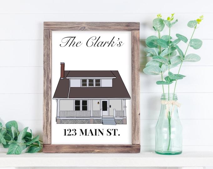 Custom House Illustration, House Illustration, First Home Illustration, Family Home Memorable, Custom illustration