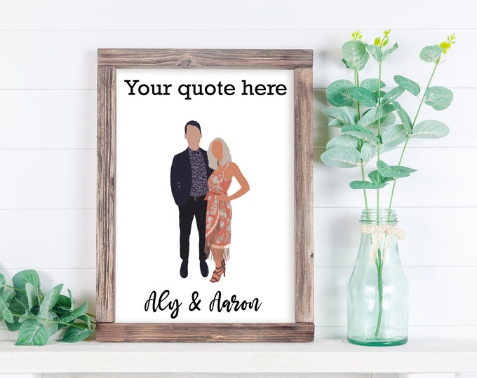 Custom Photo Illustration, Photo Illustration with Quote, Couples Gift, Gift for her, Gift for him