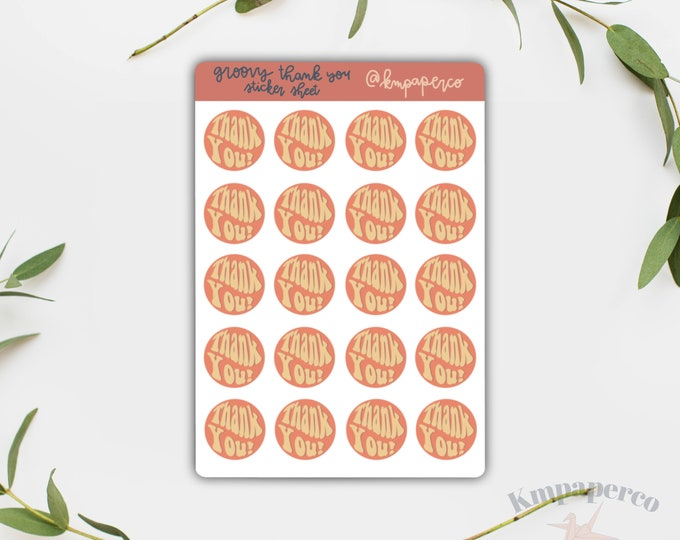 Groovy Thank you Stickers, 80 stickers, packaging stickers, custom packaging stickers, small business stickers