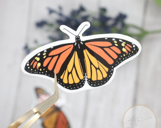 Butterfly sticker waterproof, Monarch butterfly sticker, sticker for waterbottle, sticker for laptop, birthday gift for her, nature stickers