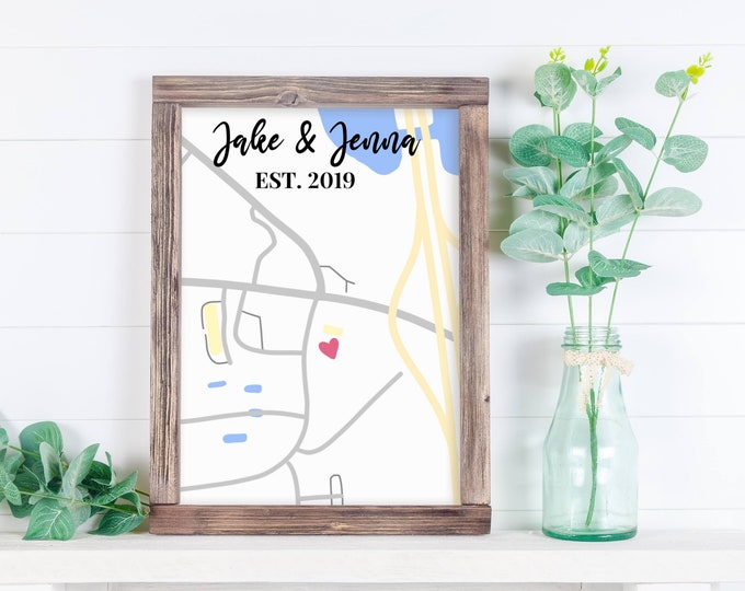 Custom map print, sentimental gift, Map of where you met print, Couples Gift, Gift for her, Gift for him