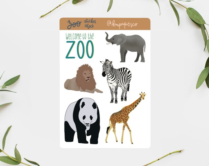Zoo Sticker Pack, Bullet Journal Stickers, Zoo animal stickers, sticker sheet, scrapbooking stickers, zoo sticker sheet, small gift for her