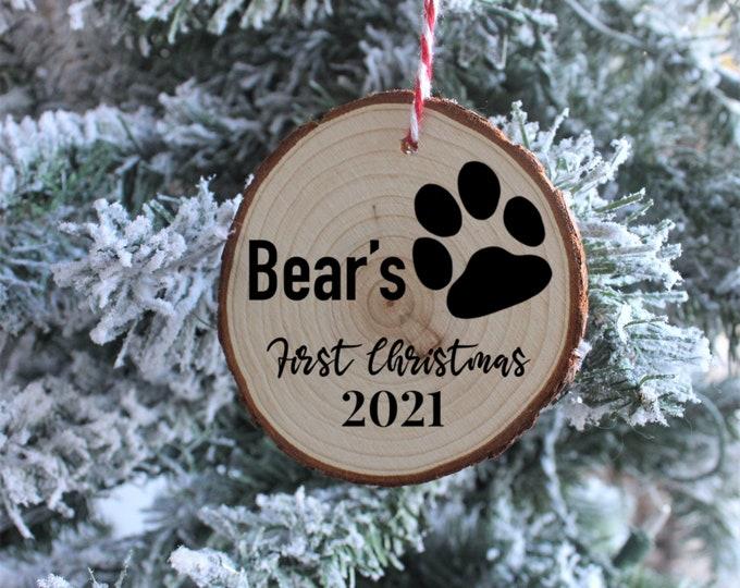 Dog's First Christmas Wood Ornaments, Christmas Ornaments, Custom Christmas Ornaments, Gift for her, Gift for him, Christmas Gift