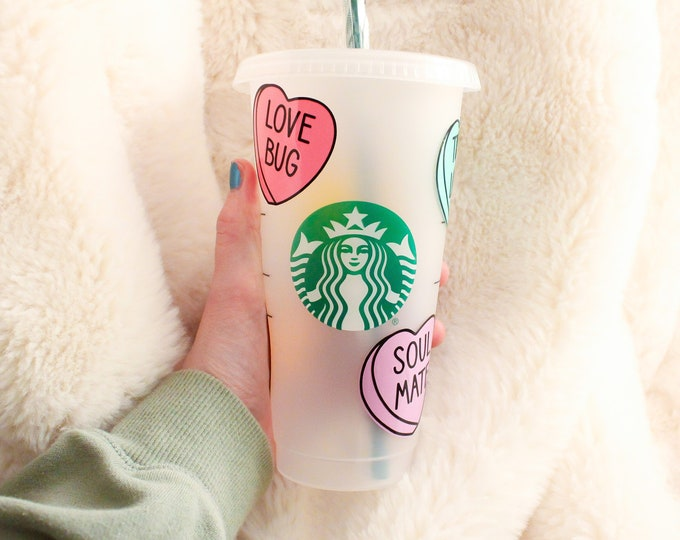 Candy Hearts Starbucks Cup, Custom Starbucks Cup, Valentines Day Gift, Gift for her, Candy Hearts Cold Cup, Valentines Starbucks Cup
