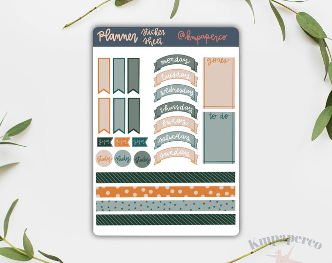 Planner Stickers, Blue and Orange Stickers, Sticker Sheet, Bullet Journal Stickers, Stickers for journal, small gift for her