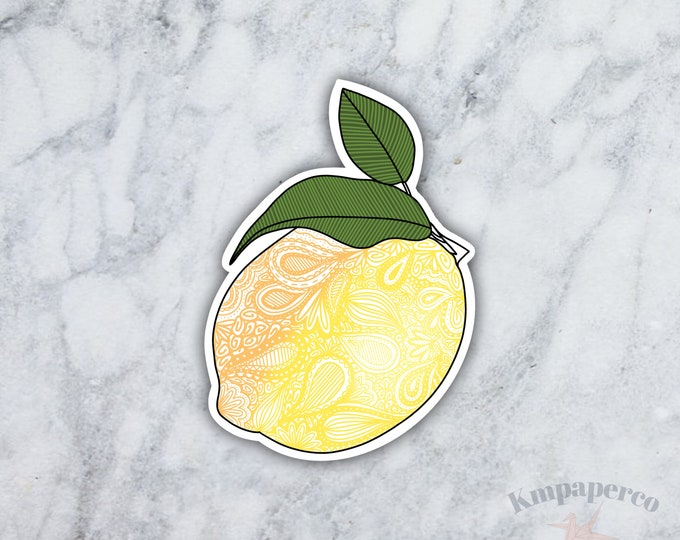 Lemon sticker, mandala sticker, doodle sticker, waterbottle sticker, waterproof sticker, sticker for laptop, birthday gift for her, citrus
