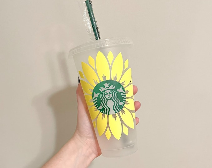 Sunflower Starbucks Cup, Custom Starbucks Cup, Starbucks Cup with Personalization, Custom Name Starbucks Cup, Gift for her