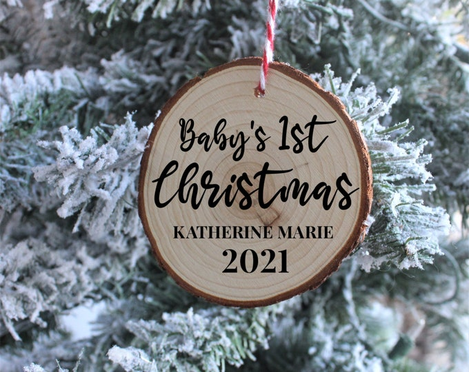 Baby's First Christmas Wood Ornaments, Christmas Ornaments, Custom Christmas Ornaments, Gift for her, Gift for him, Christmas Gift
