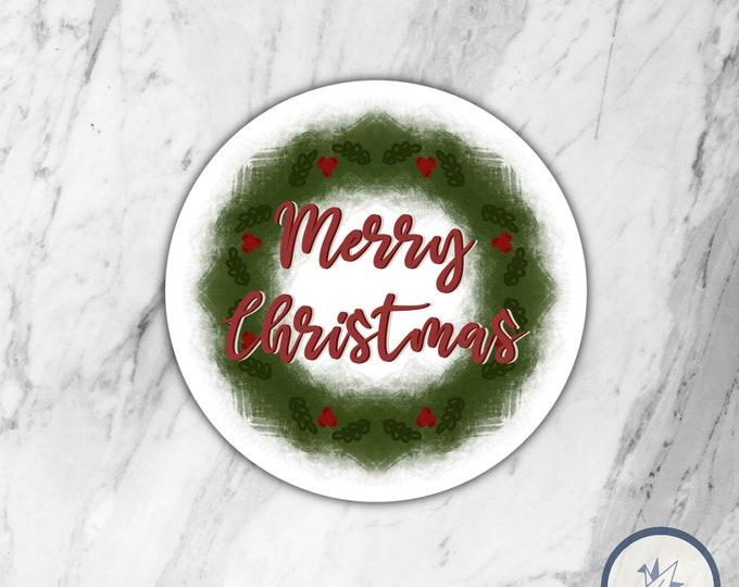 Christmas Wreath Die cut sticker, die cut sticker, gift for her, gift for him, christmas sticker, holidays sticker, winter