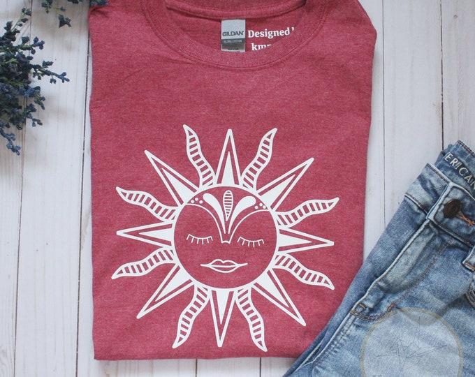 Boho Sun Red Tshirt, bohemian tshirt, aesthetic sun shirt, festival tshirt, hippie shirt, birthday gift for her, simple sun tee