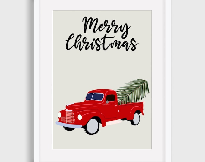 Red Truck Merry Christmas Digital Print, Christmas Digital Print, Illustrated Digital Print, Art Print, Gift for her,