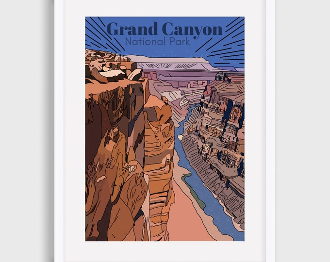 Grand Canyon Art Print, National Park Art Prints, Grand Canyon, Illustrated Digital Print, Art Print, Gift for her