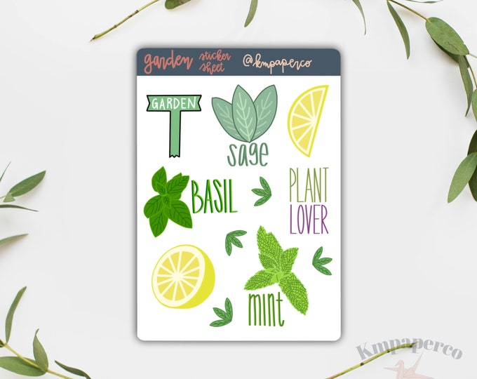 Plant Lovers Sticker Pack, Journal Stickers, Plant lover gift, Gardening sticker sheet, gardening stickers, stickers for her, gift for her