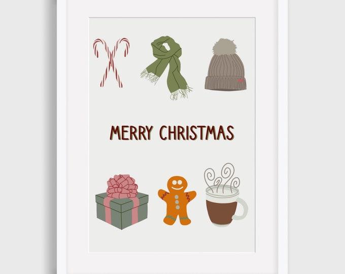 Merry Christmas Digital Print, Christmas Digital Print, Illustrated Digital Print, Art Print, Gift for her,