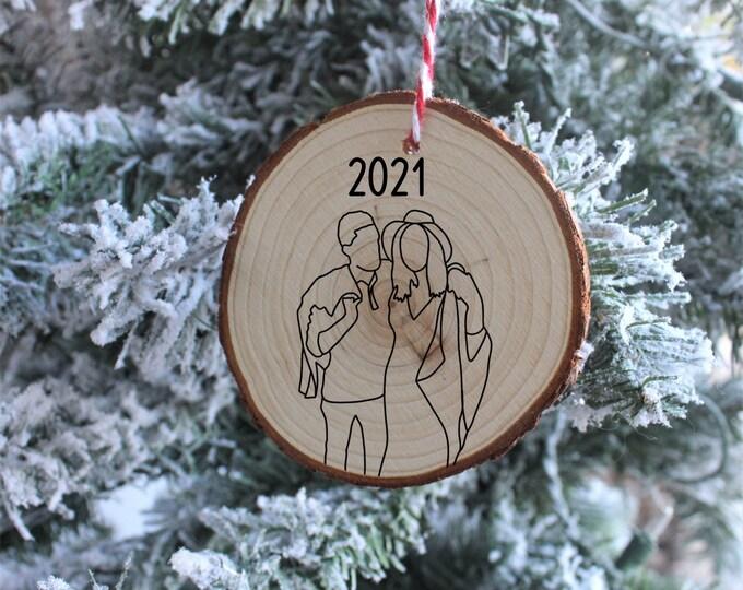 Custom Line Drawing Christmas Ornament, Christmas Ornaments, Custom Christmas Ornaments, Gift for her, Gift for him, Christmas Gift