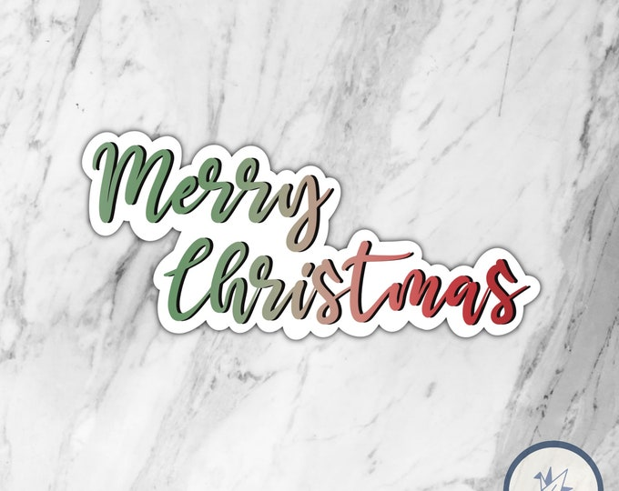 Merry Christmas die cut sticker, happy holidays, die cut sticker, gift for her, gift for him, christmas sticker, holidays sticker, winter