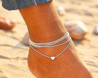 Adjustable Genuine Hallmarked Sterling Silver Linked Hearts Ball Chain Anklet