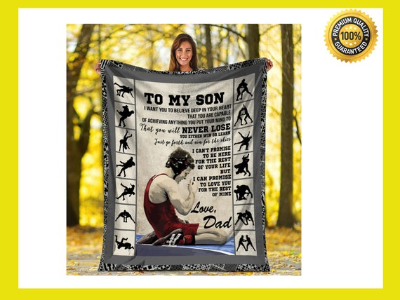 To My Son From DAD Sherpa Fleece Blanket Gift